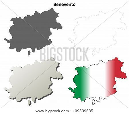 Benevento blank detailed outline map set