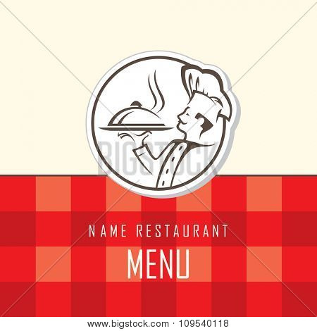 menu design with whiskered cook and plate