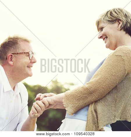 Carefree Caucasian Couple Dating Nature Loving Sky Concept