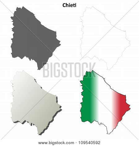Chieti blank detailed outline map set