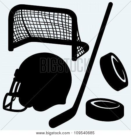Hockey icon. stick, puck, hockey gates and helmet