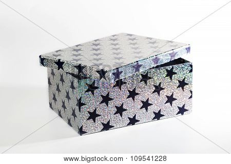 Giftbox With Glitters And Stars, Isolated