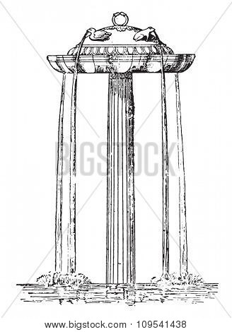 Marble fountain, vintage engraved illustration. Private life of Ancient-Antique family-1881.
