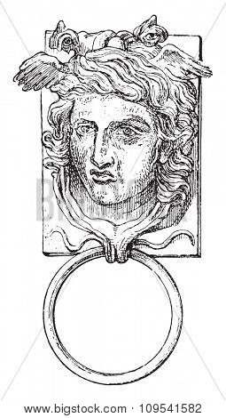 Door ring, vintage engraved illustration. Private life of Ancient-Antique family-1881.