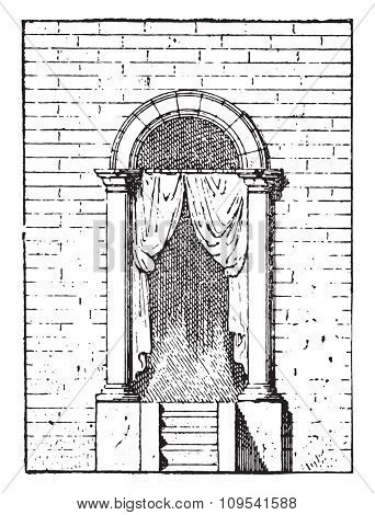 Door curtain, vintage engraved illustration. Private life of Ancient-Antique family-1881.