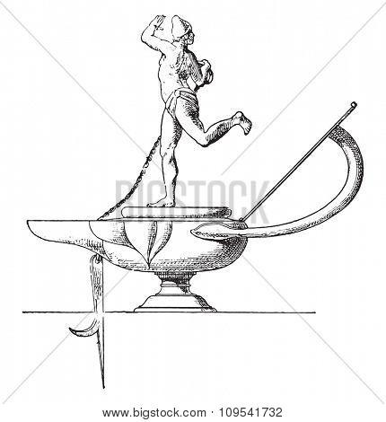 Dancer lamp, vintage engraved illustration. Private life of Ancient-Antique family-1881.