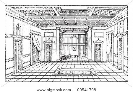 Atrium of the house of Sallust, vintage engraved illustration. Private life of Ancient-Antique family-1881.