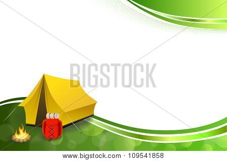 Background abstract green camping tourism yellow tent red backpack bonfire frame illustration vector