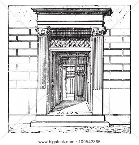 Entrance to the house, vintage engraved illustration. Private life of Ancient-Antique family-1881.