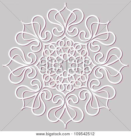 Circular floral ornament pink. Mandala, vintage vector banner frame card for text, invitations for w