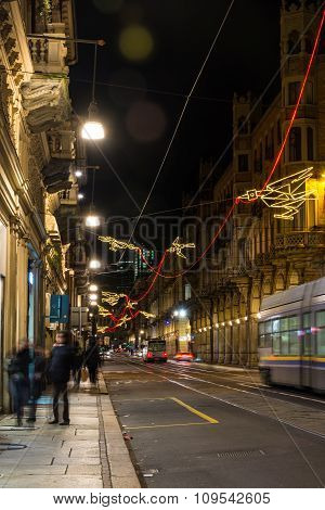 Light and Art in Via Pietro Micca in Turin, Italy