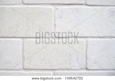 Decorative White Cladding Slabs Imitating Stones On Wall