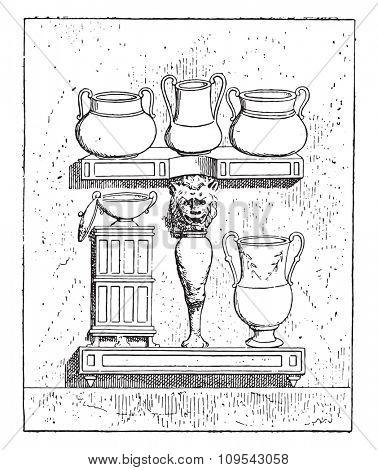 A buffet, vintage engraved illustration. Private life of Ancient-Antique family-1881.