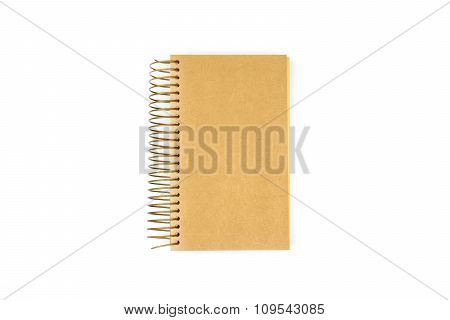 Blank Brown Notebook Isolated On White Background
