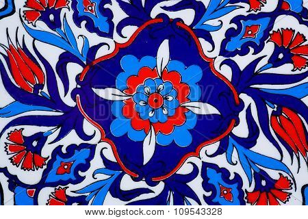 Design With Flowers On Ceramic Pot In A Style Of Turkish Historical Tiles.  Patterned Texture Of Mid