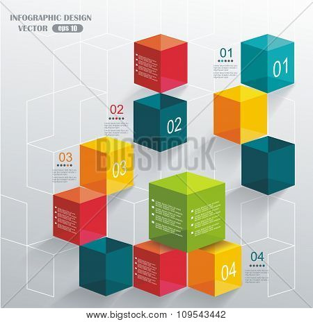 Abstract Background With Color Cubes And White Lines