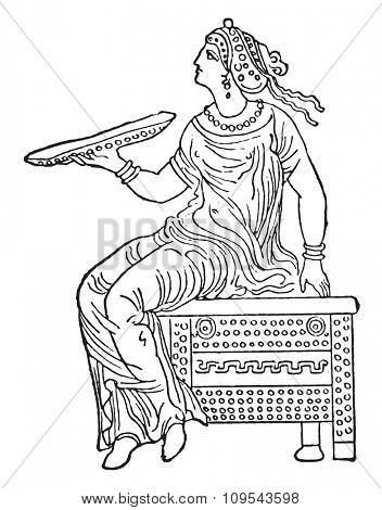 Woman sitting on a safe, vintage engraved illustration. Private life of Ancient-Antique family-1881.