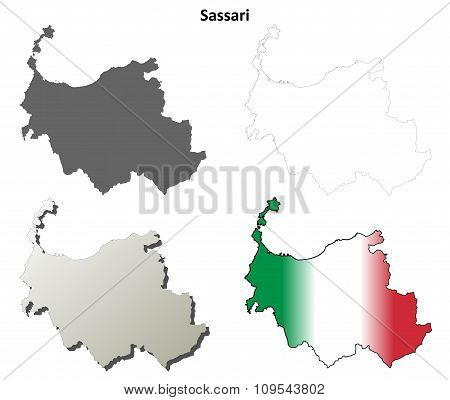 Sassari blank detailed outline map set