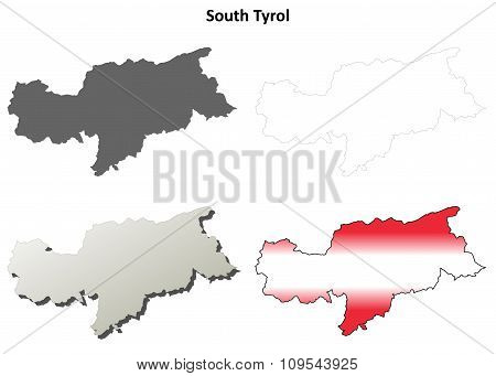 South Tyrol blank outline map set - Austrian version