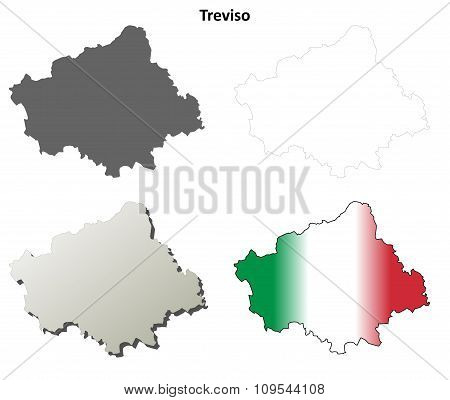 Treviso blank detailed outline map set
