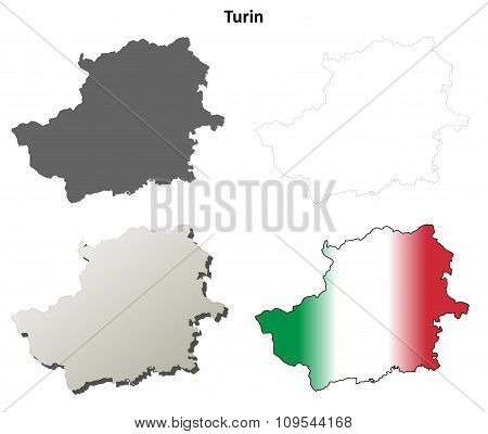 Turin blank detailed outline map set