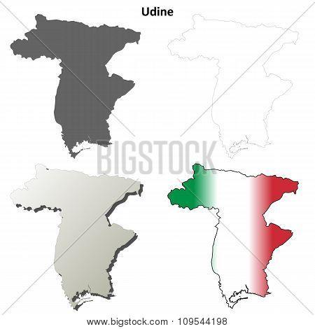 Udine blank detailed outline map set