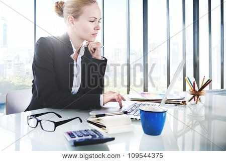 Businesswoman Working Laptop Technology Connection Concept
