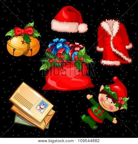 Christmas set of accessories, clothes and objects, six items for your needs