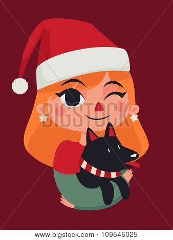 Christmas Girl Holding Her Dog
