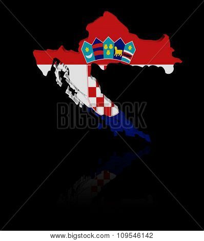 Croatia map flag with reflection illustration