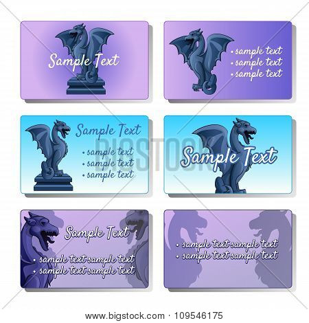 Set of six vector cards depicting gargoyles for your design needs