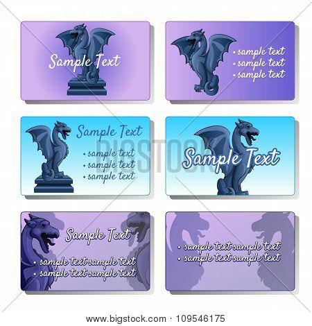 Set of six vector cards depicting gargoyles for your design needs
