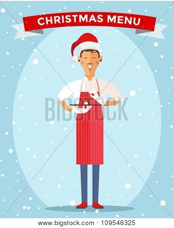 Special Christmas menu cook chef vector illustration
