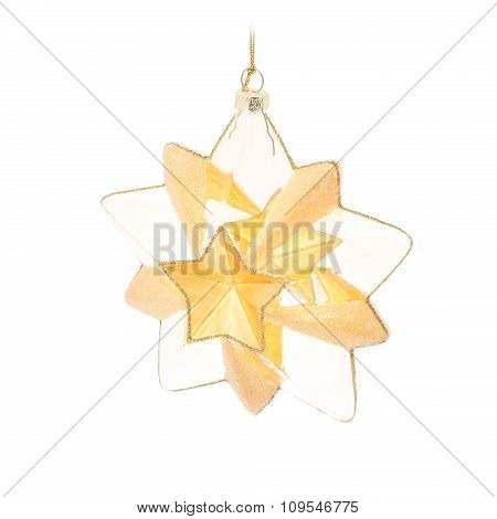 Gold five pointed star. Christmas ornament