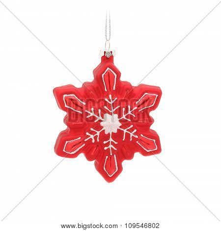Red glitter snowflake. Christmas glass ornament