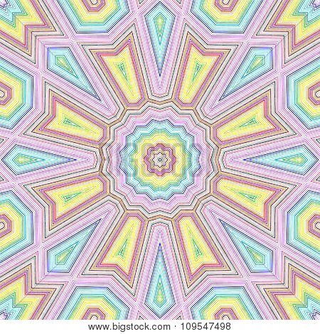 Bright Color Lines Concentric Pattern