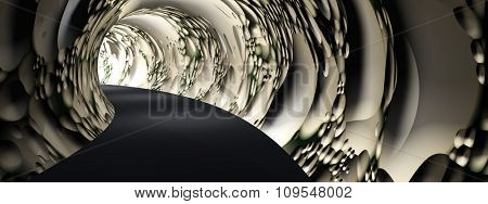 Concept or conceptual dark abstract road tunnel with bright light at the end background banner