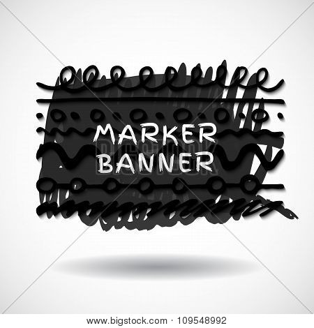 Black markers strokes banner