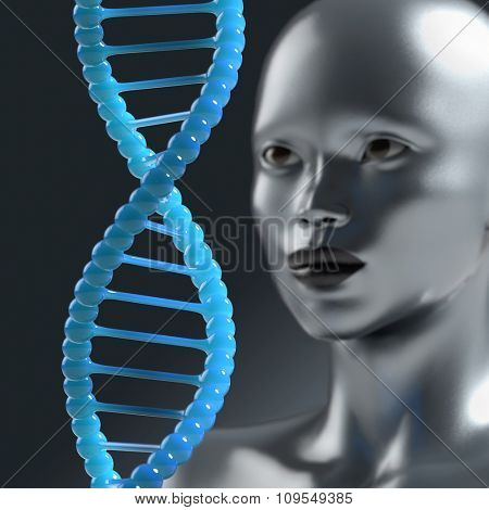 man looks at the DNA molecule