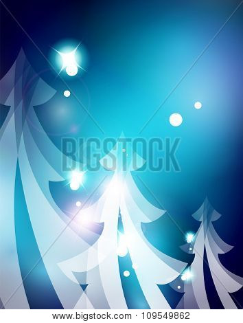 Holiday blue abstract background, winter snowflakes, Christmas and New Year design template, light shiny modern illustration