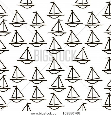 Ship Seamless Pattern On White.