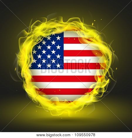 Flag Of Usa In Yellow Fire
