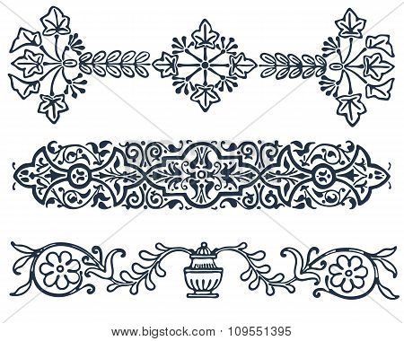 vintage border  frame filigree engraving  with retro ornament pattern