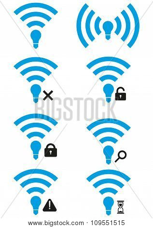 Set Of Li-fi Wireless Access Icons