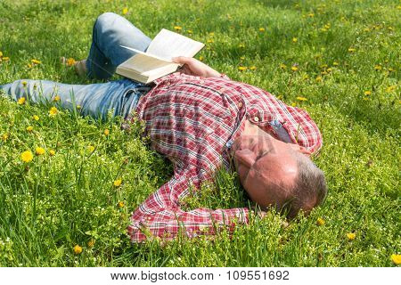 A Man Sleeping On A Meadow