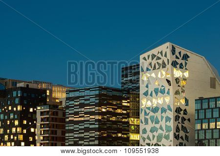 Modern architecture in Oslo business center, Norway