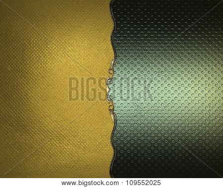 Green Texture On A Gold Background With A Pattern. Element For Design. Template For Design. Copy Spa