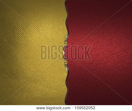 Red Texture On A Gold Background With A Pattern. Element For Design. Template For Design. Copy Space