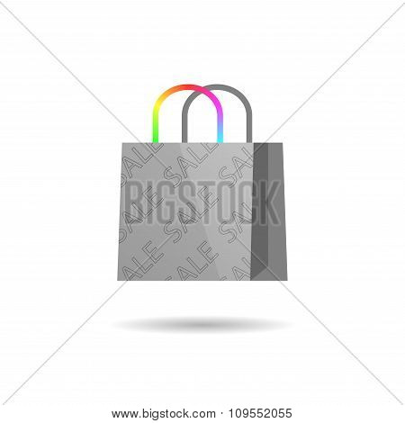 Grey bag with colored handles. Vector