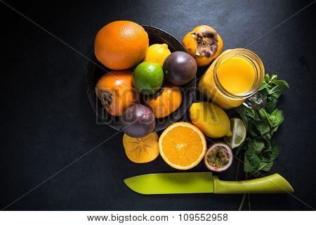 Tropical And Exotic Fruit Smoothie,diet Concept